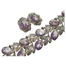 Lucite Floating Confetti and Shell Plum Cabochon Bracelet Earring Set
