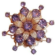 Purple Rhinestone Star Burst Pin