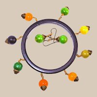 Beaded Tambourine Bakelite Bangle and Earring Set