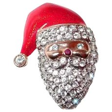 Monet Christmas Santa Claus Pin Paved Rhinestones Red Enamel Hat