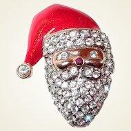 Monet Christmas Santa Claus Pin Rhinestones Red Enamel