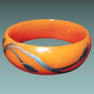 Celluloid Bangle with Silver Overlay Book Piece