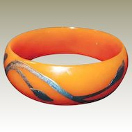 Celluloid Bangle with Silver Overlay Book Piece on FINAL REDUCTION SALE