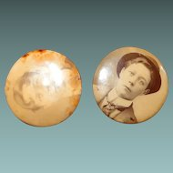 1800s Kodak Celluloid Photo Pins Two Shots of Same Young Man
