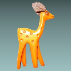 Carved Bakelite Butterscotch Deer by Martha Sleeper