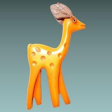 Carved Bakelite Butterscotch Deer by Martha Sleeper