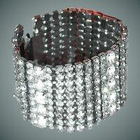 Wide Rhinestone Bracelet Eye Popping Bridal/Prom/Holiday/Party