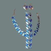 Coro Pegasus Blue Two-tone Thermoset Plastic Demi-Parure Bracelet Necklace Set 50% off Shop from Home Sale