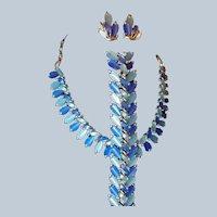 Coro Pegasus Blue Two-tone Thermoset Plastic Bracelet Necklace Set Last Chance SALE
