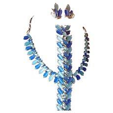 Coro Pegasus Blue Two-tone Thermoset Plastic Demi-Parure FINAL REDUCTION SALE Bracelet Necklace Earring Set