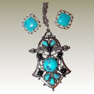 Marbled Turquoise and Black Thermoset Plastic Pendant Earrings FINAL REDUCTION SALE