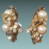Hobe Earrings Smoke Stones Faux Pearls Rhinestone Three Leaf Clovers