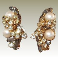 Hobe Earrings Smoke Stones Faux Pearls FINAL REDUCTION SALE
