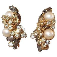 Hobe Earrings Smoke Stones Faux Pearls FINAL REDUCTION SALE