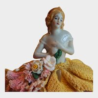 Southern Bell Porcelain German Half Doll Pin Cushion
