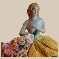 Southern Bell Porcelain German Half Doll Pin Cushion