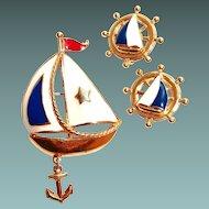 Nautical Avon Enamel Sail Boat Pin Earring Set