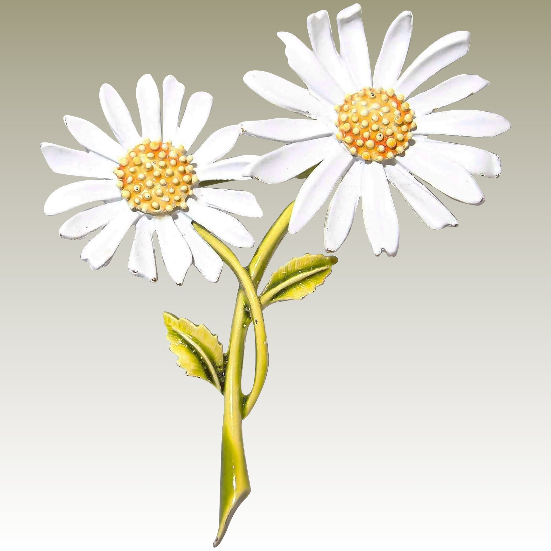 Double Daisy Flower Brooch By Art Bangles And Beads Antique And