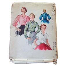 1955 McCalls Sewing Pattern Misses Blouse - 3 in 1