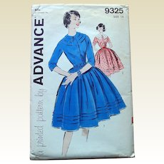 Vintage Advance Sewing Pattern: Dress Full Skirt Wide Bib Neckline