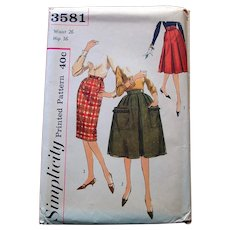 1960s Simplicity Sewing Pattern: 3 Skirt Options in One