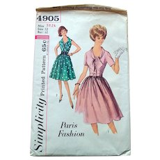 1960s Simplicity Sewing Pattern: Paris Design Dress Scooped Bow Neckline