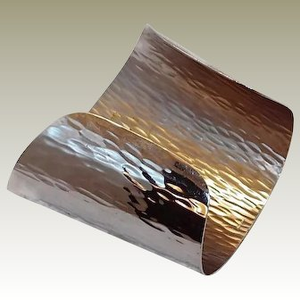 Bark Textured Napier Silver-tone Cuff Bracelet
