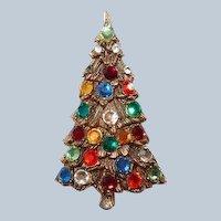 Tall Multicolor Rhinestone Christmas Tree Brooch Last Chance SALE