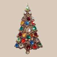 Tall Multicolor Rhinestone Christmas Tree Brooch