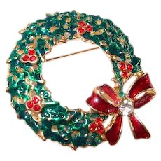 LEAVING SHOP THE END OF MAY Red Holly Berries Rhinestones Xmas Wreath Pin with Bow