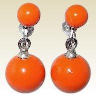 Orange Screw-back Bob Earrings From 1960s