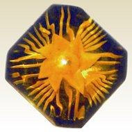 End of Year BLOWOUT SALE is on: Reversed Carved Applejuice Bakelite Flower Brooch - Book Piece