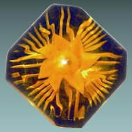 Reversed Carved Applejuice Bakelite Flower Brooch - Book Piece