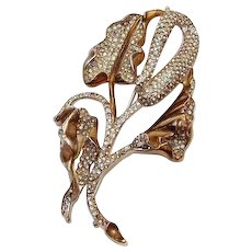 Monster Serpents Tongue Flower by Reja 1941 Rhodium Gold Curled Leaves
