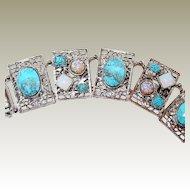 Bracelet FINAL REDUCTION SALE Turquoise Opal Moonstone Cabochon Filigree Link
