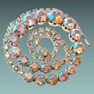 Large Pink Aurora Borealis Bridal Necklace