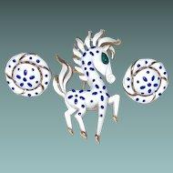 Trifari Precious Pet Horse Pin Earring Set