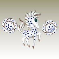 Trifari Precious Pet Horse Pin Earring Set now in FINAL REDUCTION SALE