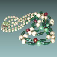 Unusual Colored Three Strand Glass Necklace with Peridot Rhinestone Clasp