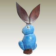 Elzac Bunny Brooch Wooden Ears Articulating  FINAL REDUCTION SALE Tail Blue Ceramic, Book Piece