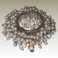 FINAL REDUCTION SALE Wild Cha-Cha Bracelet Faux Pearls Oriental Glass Beads