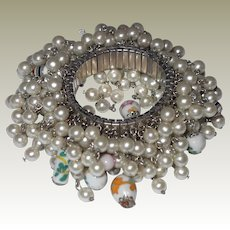 Wild Cha-Cha Bracelet Faux Pearls Oriental Glass Beads