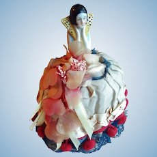 1920s Antique Art Deco Half Doll Pin Cushion Original Dress