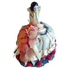 Flapper Half Doll Pin Cushion Original Dress 1920s Antique Art Deco
