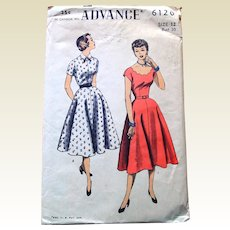 1950s Vintage Advance Sewing Pattern: Dress 2 in 1, Scallop Neckline