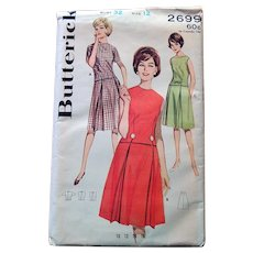 1950s Butterick Sewing Pattern: Two Part Dress Free Domestic Shipping