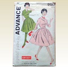 Vintage Advance Sewing Pattern: Easy Sew Dress Full Skirt