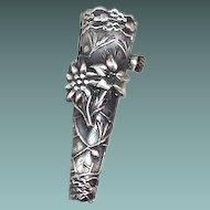 Vintage Buttonhole Holder Silver Pin Scottish Flowers Acorns Pine Needle Motif