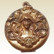 Art Nouveau Locket Gold Filled Flowing Hair Women