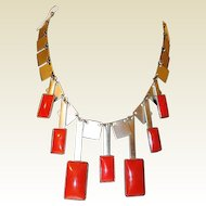 Art Deco Square Chrome and Red Dangle Machine Age Industrial Necklace